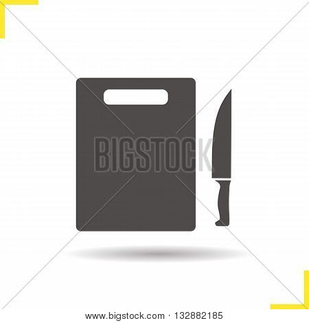 Cutting board with knife icon. Drop shadow knife silhouette symbol. Cutting board with knife. Kitchen utensils. Chef's instruments. Cutlery. Cutting board logo concept. Isolated vector illustration