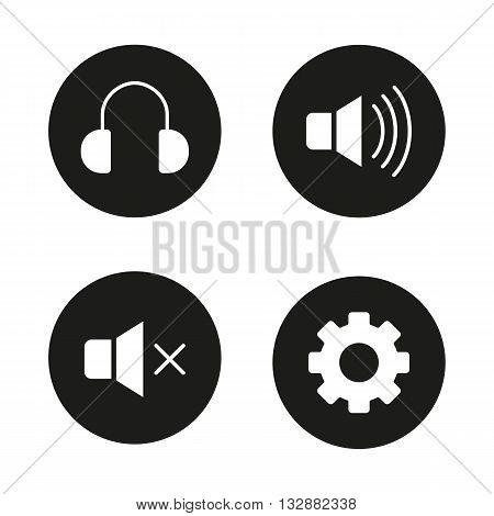 Music player interface black icons set. Headphones, mute on, mute off and settings symbols. Smartphone interface icons. White silhouettes illustrations. Vector music player interface logo concepts