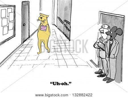 Business cartoon about an employee wary of a new boss.