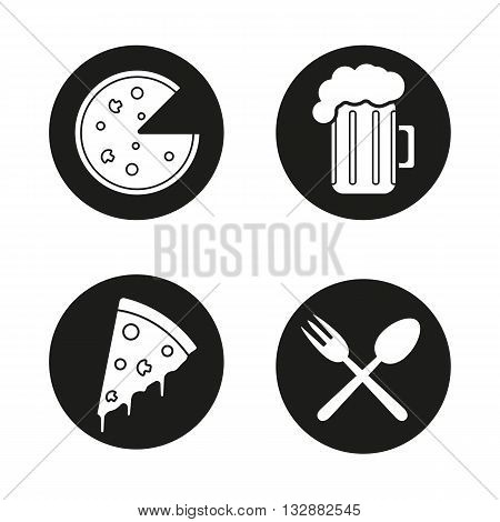 Pizzeria black icons set. Cafe and restaurant menu items. Pizza slice, beer mug and eatery symbols. Vector white illustrations in circles