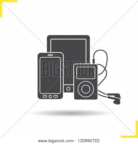 Electronics gadgets icon. Drop shadow smartphone, tablet pc and mp3 player with earphones silhouette symbol. Multimedia electronic devices. Electronic gadget logo concept. Isolated vector illustration