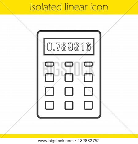 Calculator linear icon. Office equipment. Business electronic device thin line illustration. Calculation contour symbol. Vector isolated outline drawing