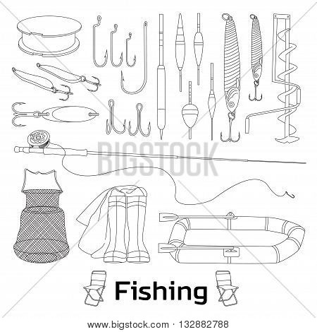 Fishing set icons- fishing rod, hooks, bait, boat, fish, anchor, water, beard, chain, compass and other. Vector illustrations
