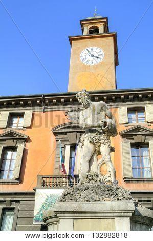 Ancient fountain of the river Crostolo on an area Piazza del Duomo in city Reggio Emilia