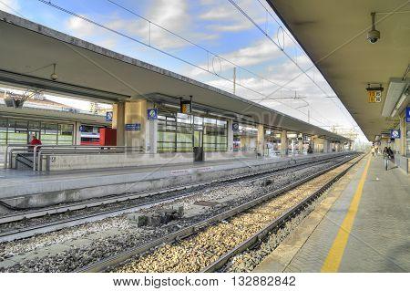 REGGIO EMILIA ITALY - October 07.2011: Platform Railway Station in the city of Reggio Emilia
