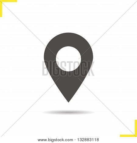 Pinpoint icon. Drop shadow geolocation mark silhouette symbol. Location map pointer symbol. Pinpoint logo concept. Vector geolocation mark isolated illustration