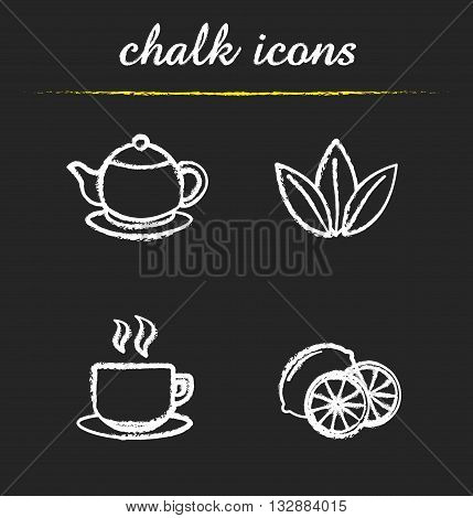Tea chalk icons set. Teapot, tea leaves, steaming cup and lemon slices. White illustrations on blackboard. Vector chalkboard tea logo concepts