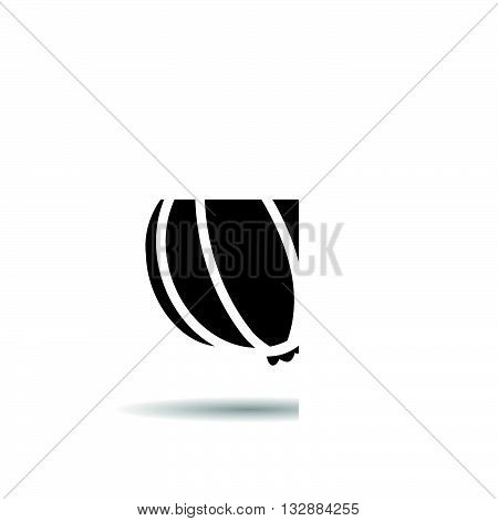 Garlic icon. Drop shadow vegetable silhouette symbol. Seasonal agricultural spicy plant. Spicy cooking ingredient. Garlic logo concept. Vector spice isolated illustration