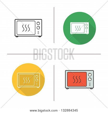 Microwave icon. Flat design, linear and color styles. Microwave oven isolated vector illustrations