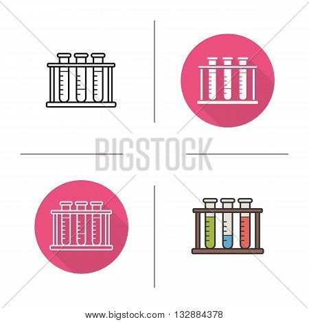 Test tubes flat design, linear and color icons set. Chemical laboratory tubes. Lab tubes. Contour and long shadow symbols. Test tubes logo concepts. Isolated vector illustrations. Infographic elements