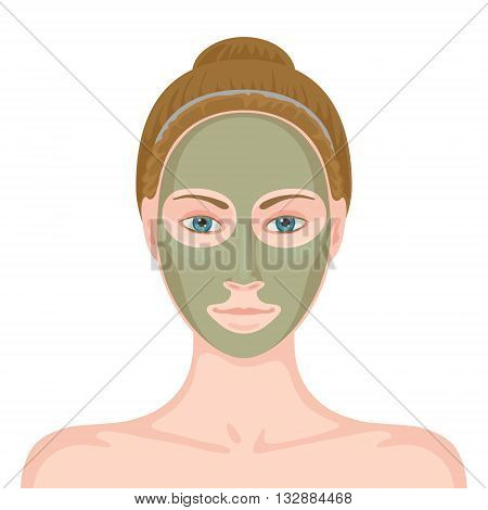 Young white-skinned woman without make-up and cosmetic mask of gray-green color on her face. Facial skin care using natural ingredients. Beauty and skin care concept