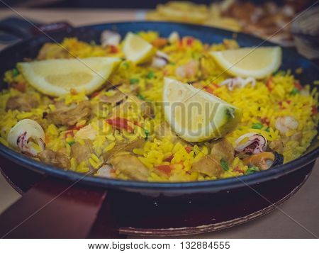 Close up of a paella - traditional Spanish dish