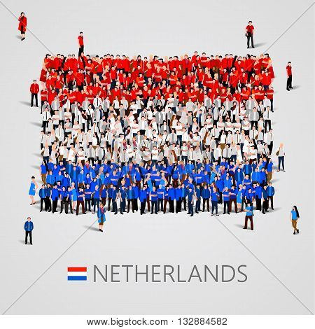 Large group of people in the shape of Netherlands flag. Vector illustration