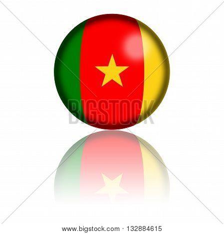 Cameroon Flag Sphere 3D Rendering