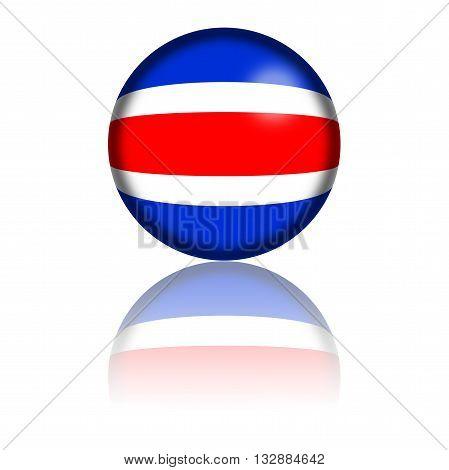 Costa Rica Flag Sphere 3D Rendering