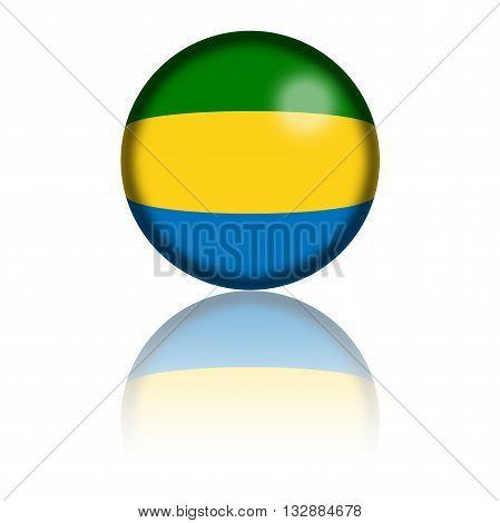 Gabon Flag Sphere 3D Rendering