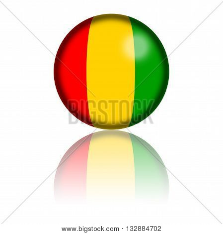 Guinea Flag Sphere 3D Rendering