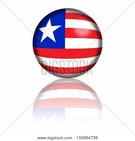 Liberia Flag Sphere 3D Rendering