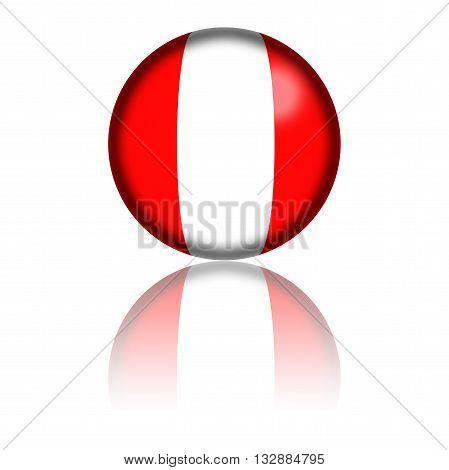 Peru Flag Sphere 3D Rendering
