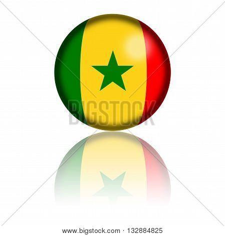 Senegal Flag Sphere 3D Rendering