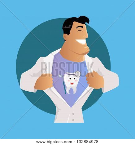 Doctor dentist character with painted teeth on a T-shirt under his robe. Care medical and uniform medicine and person professional physician medic. Happy doctor isolated. Vector illustration