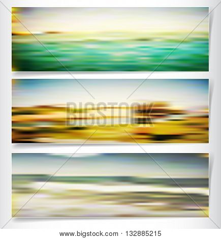 Set of blurred summer landscapes with sea, beach and islands