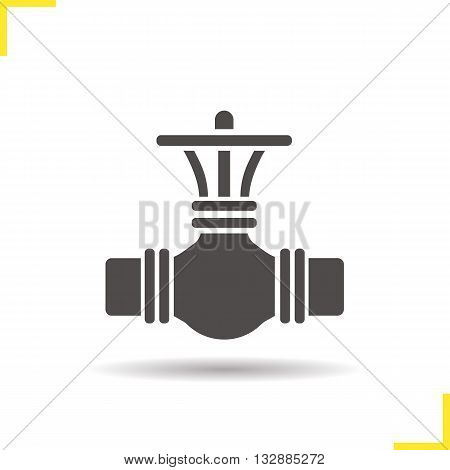 Pipeline valve icon. Drop shadow gas pipes silhouette symbol. Petroleum industry. Vector isolated illustration