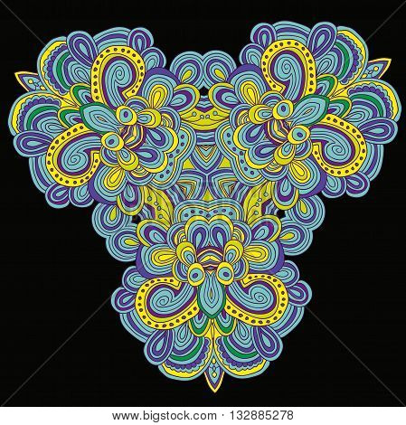 Round symmetrical pattern in green, violet and yellow colors. Mandala. Kaleidoscopic design. Sacred geometry