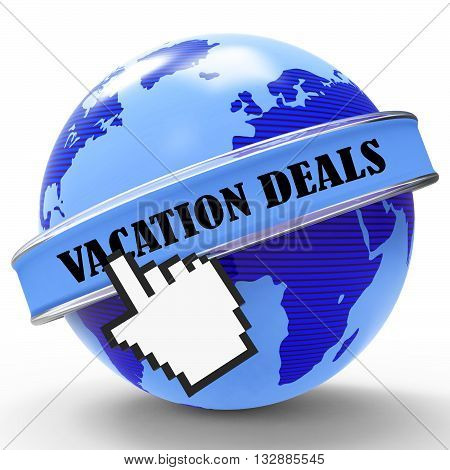 Vacation Deals Shows Promotion Break And Cheap 3D Rendering
