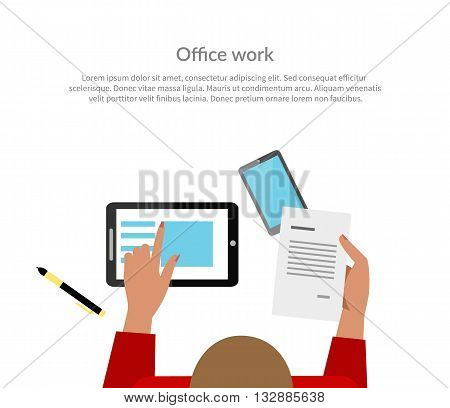 Office work top view banner design. Woman working with papers in one hand a piece of paper with the data, and the other indicates a digital tablet. Banner or poster for website. Vector illustration