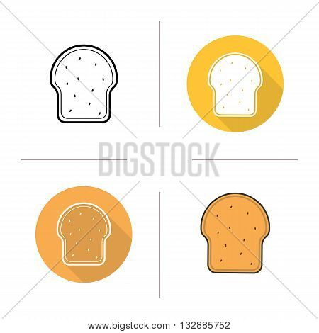 Toast icon. Flat design, linear and color styles. Sliced bread. Bakery product. Toast isolated vector illustrations