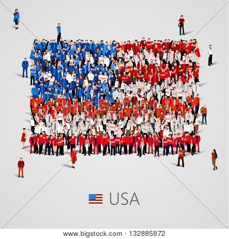 Large group of people in the shape of USA flag. Vector illustration