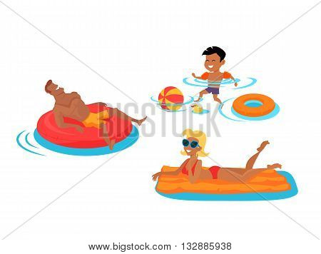 Happy family bathing in the sea. Dad lies on an inflatable circle. Mom floating on a mattress in the sea. Son bathing in the water. Happiness, holiday and cheerful swimming people, vector illustration
