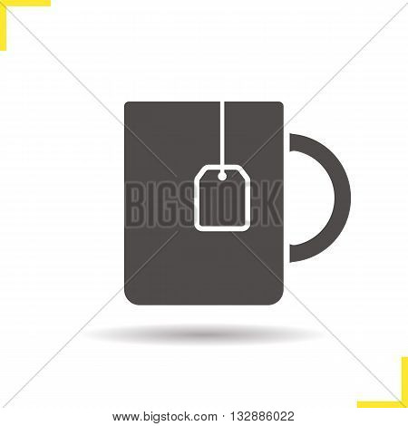 Teacup icon. Drop shadow teacup with teabag silhouette symbol. Hot drink cup. Hot drink logo concept. Vector teacup with teabag isolated illustration