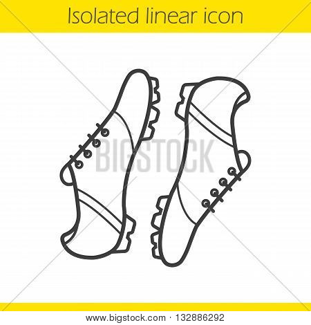 Soccer boots linear icon. Football player's footwear. Modern sportswear thin line illustration. Football boots contour symbol. Vector isolated outline drawing