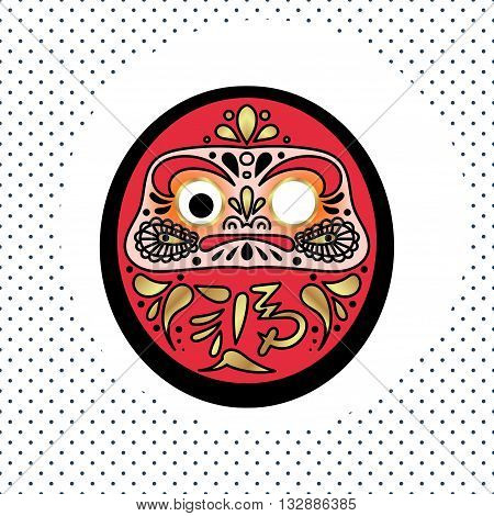 Daruma Japanese traditional doll which embodies Bodhidharma in Japanese syncretic mythology. Deity brings happiness.
