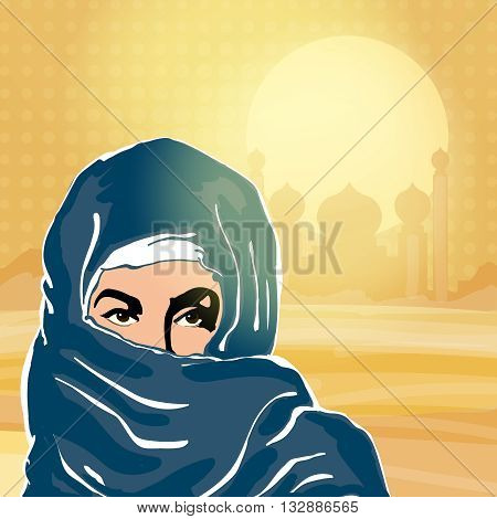 Muslim woman in hijab pop art vector illustration