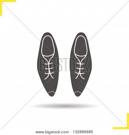 Men's shoes icon. Drop shadow leather shoes silhouette symbol.  Male classical footwear with shoelaces. Men's shoes logo concept. Vector varnished leather shoes isolated illustration