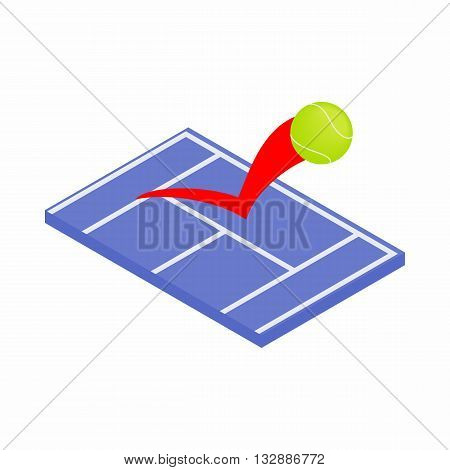Flying tennis ball on a blue court icon in isometric 3d style on a white background