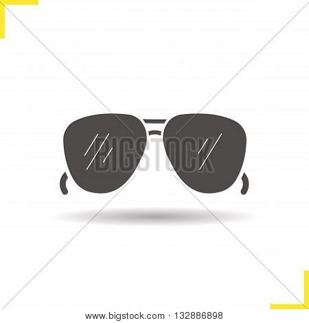 Sunglasses icon. Isolated sunglasses illustration. Drop shadow sun glasses icon. Men's summer fashion accessory. Sunglasses logo concept. Vector man sunglasses. Silhouette sunglasses symbol