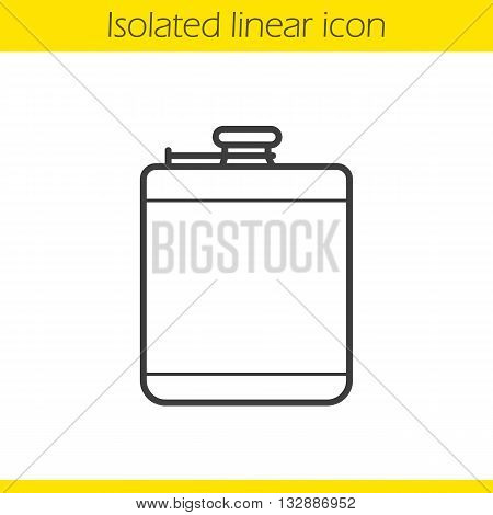 Hip flask linear icon. Men's personal accessory thin line illustration. Alcohol flask contour symbol. Vector isolated outline drawing