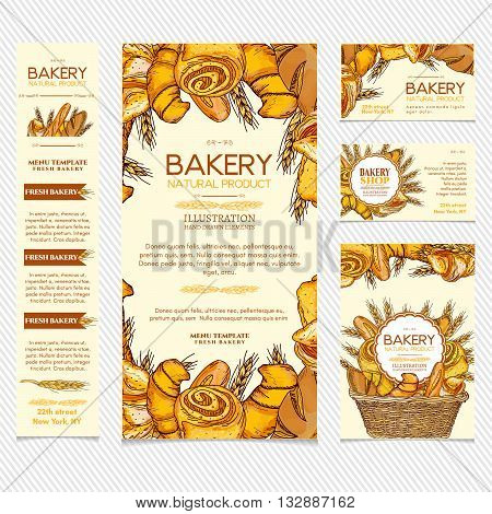 Bakery products restaurant menu template business card page template vector illustration