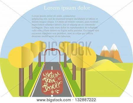 Series four seasons The best time to travel. Mountain landscape, road in autumn time. Modern flat design, design element, vector