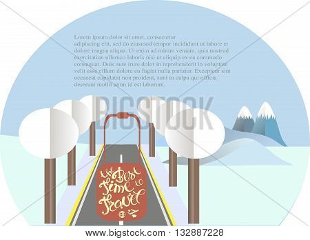 Series four seasons The best time to travel. Mountain landscape, road in winter time. Modern flat design, design element, vector
