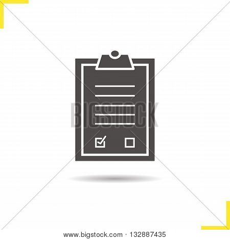 Agreement icon. Drop shadow contract silhouette symbol. Signed official document. Business paper with signature. Agreement logo concept. Vector contract isolated illustration