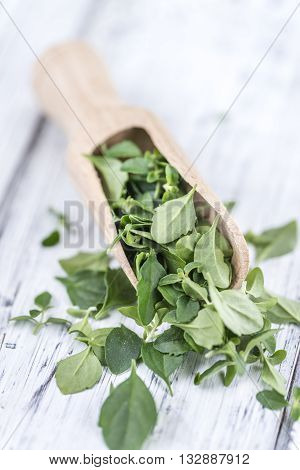 Menthol Leaves On Wooden Background