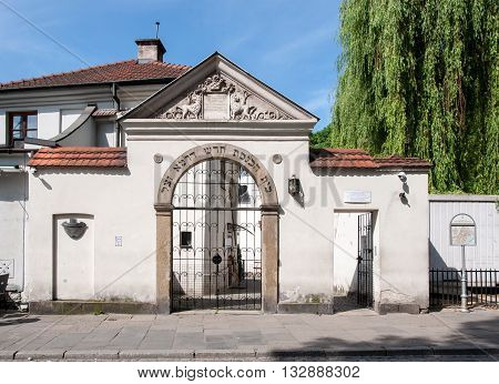 Cracow, Poland - May 28, 1916: Remuh Synagogue in Jewish Kazimierz district of Krakow Poland built in 16th century. Main gate.