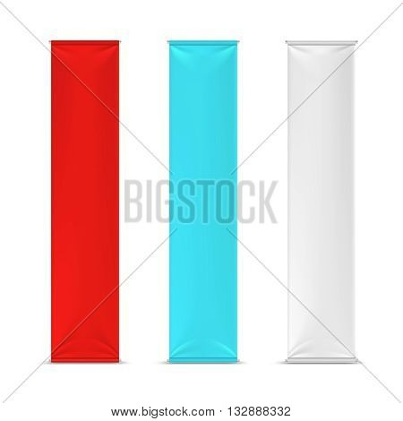 Color empty vertical advertising banner flags. Mockup advertising placard vertical, canvas or cotton frame advertising poster. Vector illustration mockup
