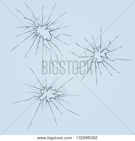 Crushed broken glass vector set. Frame destruction glass, cracked aperture glass detail illustration