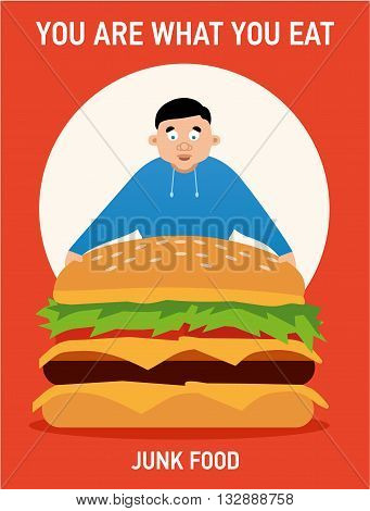 You are what you eat illustration, young fat guy ate too much burgers and lost health